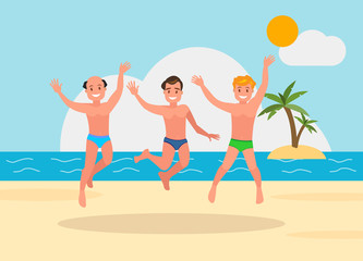 Three young men jumping on the beach background.