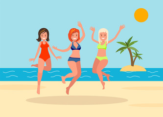 Three girls jump on the beach background.