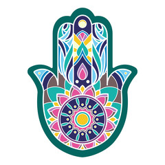 Lineless colorful hamsa hand