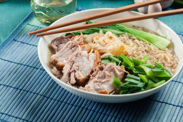 Ramen. Japanese noodle soup with pork