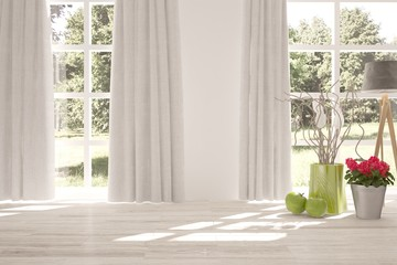 White empty room with home decor decor and summer landscape in window. Scandinavian interior design. 3D illustration