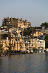 Udaipur Pichola lake and palace view in Rajastan, India