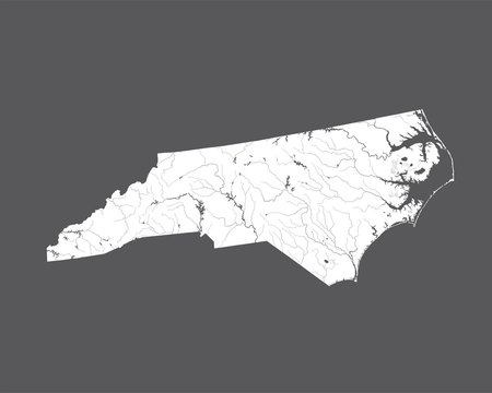 U.S. states - map of North Carolina. Please look at my other images of cartographic series - they are all very detailed and carefully drawn by hand WITH RIVERS AND LAKES.