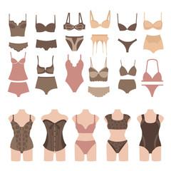 Set of beautiful fashion lingerie elements.