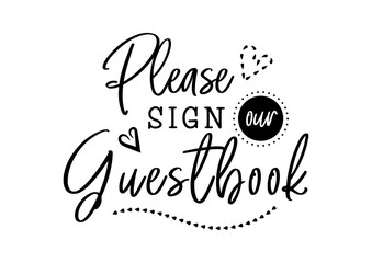 Wall Mural - Please sign our guestbook wedding lettering