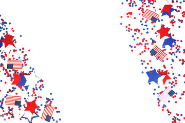 the us independence day, July 4, memorial day, patriotism and veterans, the holiday of the country , flags and swezy paper white-blue-red color , isolate