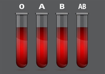 Different blood types in test tube illustration