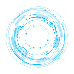 Futuristic circles as interface. Vector image on white background.