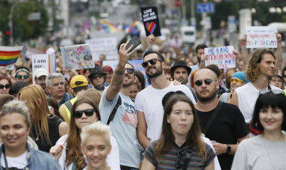 Participants take a selfie during the Equality March in Kiev