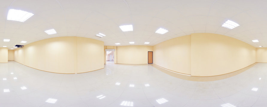 360 panorama view in modern empty apartment interior, degrees seamless panorama.