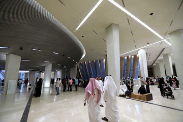 Crowd is seen arriving at King Abdulaziz Center for World Culture (ITHRA) ahead of Russian theater orchestra The Marilinsky Orchestra held in Saudi for the first time as part of Eid celebrations in Dhahran