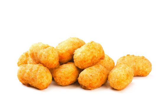 Fried crispy round chicken nuggets