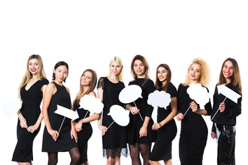 Group of young beautiful women in black dress isolated on white background.