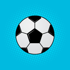 Soccer ball on blue background. Football banner in pop art style. Funny cartoon sport vector illustration. Easy to edit design templatую