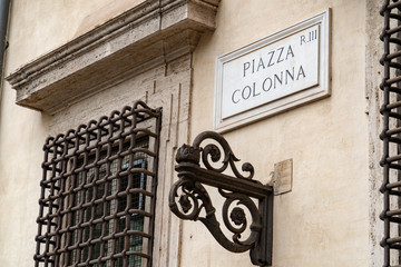 piazza colonna rome street sign