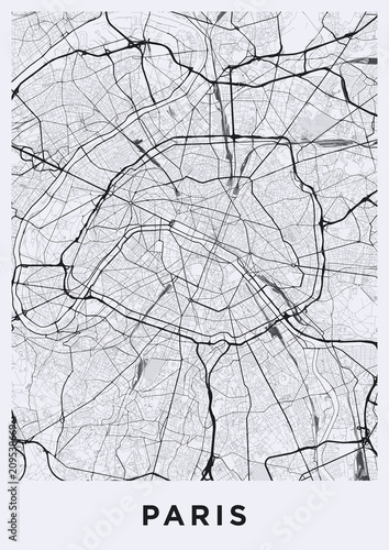 Paris city map. Map of Paris (France). Black and white (light ...