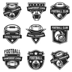 American football emblems. Design element for logo, label, sign.