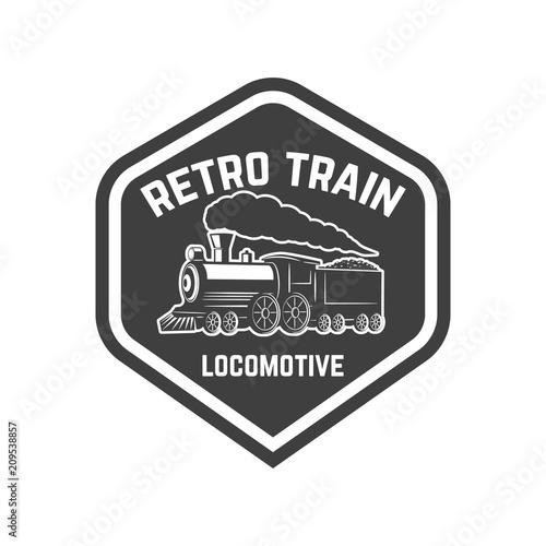 emblem template with vintage train design element for logo sign