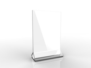 Blank Card stand type top loader Table Tent. 3d render illustration.