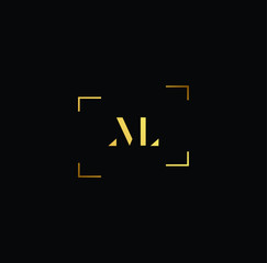 Initial letter ML LM NL LN VL LV minimalist art logo, gold color on black background