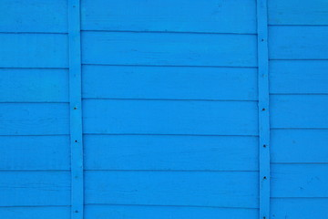 The wall of the house is paneled in blue. Close-up. Background. Texture.