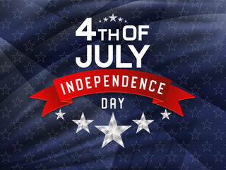 4th of July, american independence day celebration background with silver stars and red ribbon. Vector illustration.