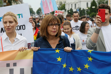 Rebecca Harms, member of the European Parliament from Germany, attends the Equality March in Kiev