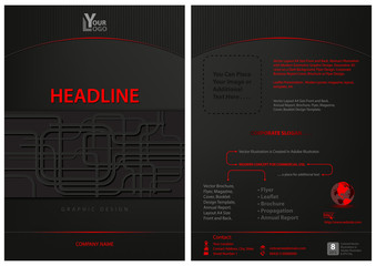Dark Leaflet Template with Abstract Decoration - Modern Graphic Composition for Commercial Use, Vector