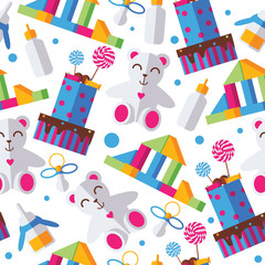 Seamless pattern with bright kids toys, cake, nipple and bottle on white background. Bold colors, dots.
