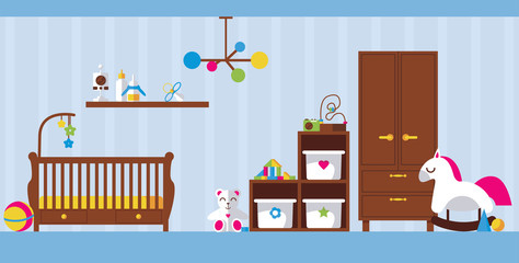 Vector flat interior illustration with newborn kid room. Baby bed, toys, wardrobe, boxes and shelve for child accessories on light blue background