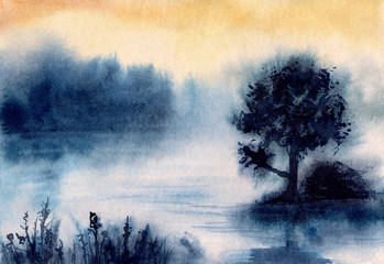 Watercolor Landscape with Sunset on Lake