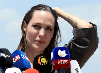 U.N. Refugee Agency's special envoy Angelina Jolie speaks during a news conference during her visits to a camp for Syrian refugees in Dohuk