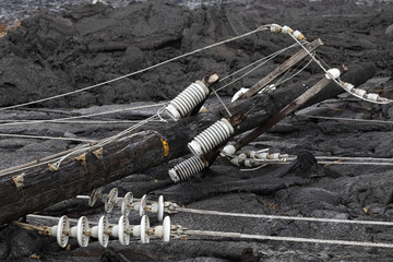 High voltage power line destroyed by a lava flow in Hawaii
