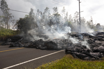 Highway in Hawaii, which was destroyed by a lava flow