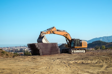 hydraulic excavator at rest