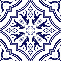 Portuguese tile pattern vector seamless with flower ornaments. Azulejo, mexican talavera, spanish, italian majolica or delft dutch. Tiled background for ceramic kitchen wall or bathroom mosaic floor.
