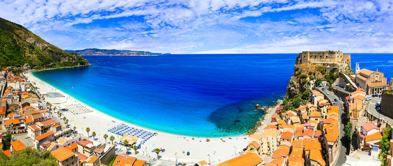 Italian summmer holidays. beautiful beaches and towns of Calabria - Scilla