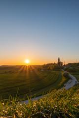 Der alte Leuchtturm Kap Arkona auf der Insel Rügen. Sonnenuntergang an der Ostsee