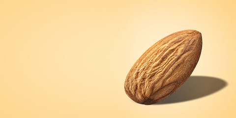 Creative poster almond without shell closeup isolated yellow background with copy space. Nut Macro concept. Mockup almond with clipping path as package design element