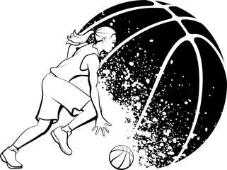 Female Basketball Dribble Grunge