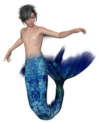 Young Merman with Dark Blue Fish Tail, Swimming - fantasy illustration
