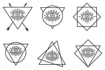 line all seeing tattoo eyes in triangles.