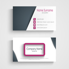 Business card with abstract frame design element