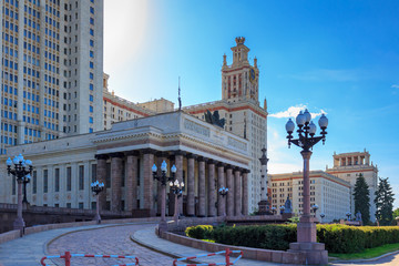 Main entrance to the building of Lomonosov Moscow State University (MSU) on a blue sky background