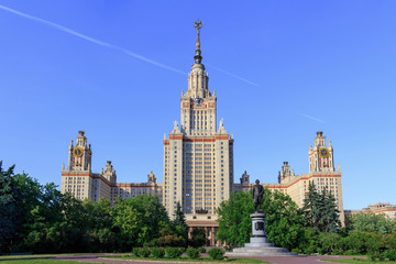 View of Moscow State University (MSU) on a Monument to Lomonosov background in sunny summer evening