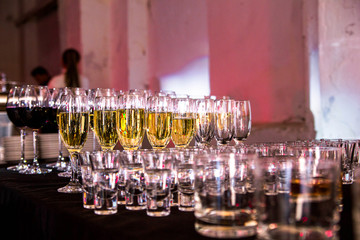 Champagne, wine and drinks at a party
