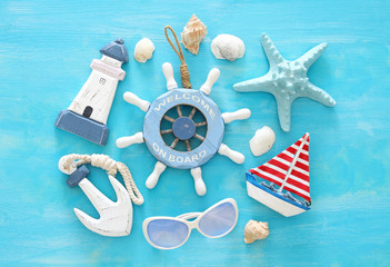 Tropical vacation and summer travel image with sea life style objects. Top view.