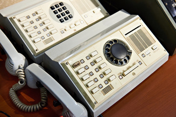 Retro rotary dial telephone and switching station