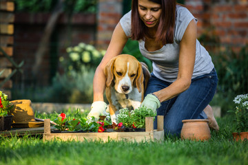 She likes to do gardening with her helper