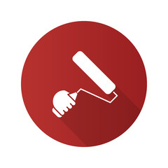 Hand holding paint roller flat linear long shadow icon